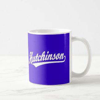 Hutchinson script logo in white mug