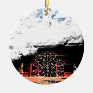 hutomani and the Merciful Goddess 菩 薩 with Oyama 祇 Ceramic Ornament