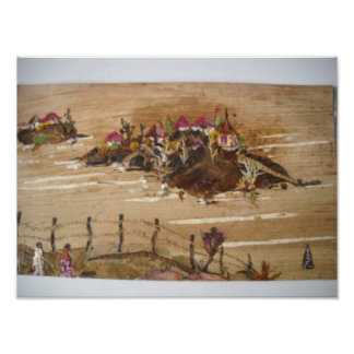 Huts on Hills Poster