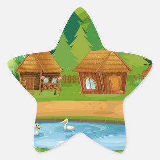 Huts Star Sticker