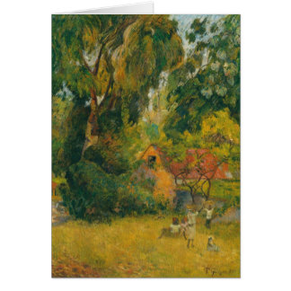 Huts Under the Trees by Paul Gauguin Greeting Card