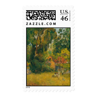 Huts Under the Trees by Paul Gauguin Stamp