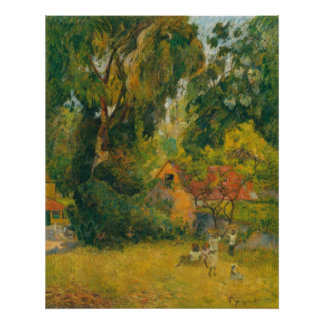 Huts Under the Trees by Paul Gauguin Poster