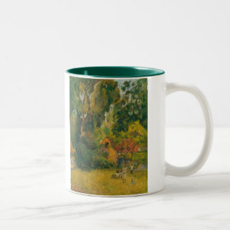 Huts Under the Trees by Paul Gauguin Two-Tone Coffee Mug
