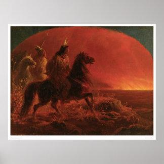 Huyendo de un fuego de la pradera (1868A) Póster
