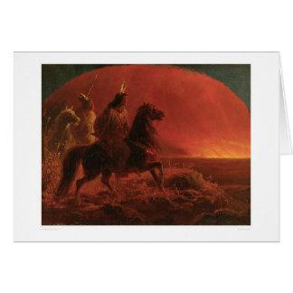 Huyendo de un fuego de la pradera (1868A) Tarjeta De Felicitación
