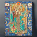 "Hwt-Her (Hathor), Plaque<br><div class=""desc"">""Hwt-Her (Hathor) Mistress of the Sky&quot; An original Kemetic icon by Ptahmassu Nofra-Uaa original work: extra fine mineral watercolor, 22k gold, semi precious stones, Austrian crystal on 8"" x 10"" archival panel Hwt-Her (Hathor) the Mistress of the Sky, Lady of Contentment, the Eye of Ra Who is beautiful of face....</div>"