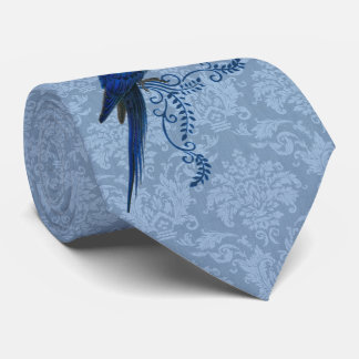 Hyacinth Macaw Parrot with Blue Damask Tie