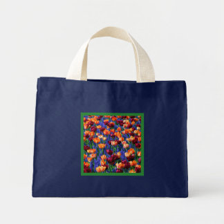 Hyacinth Tulip Garden Cotillion Small Navy Blue Mini Tote Bag