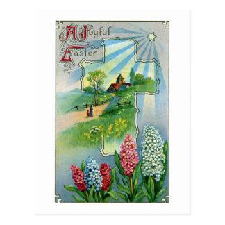 Hyacinths, Cross and Star Vintage Easter Postcard