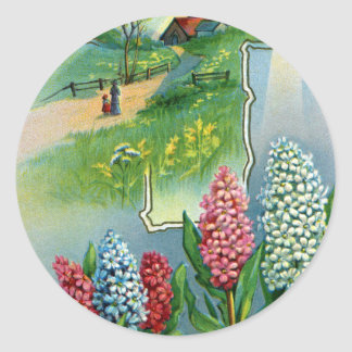 Hyacinths, Cross and Star Vintage Easter Sticker