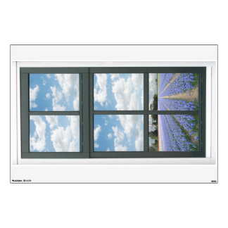 Hyacinths Flowers Floral Fake Window View Wall Sticker