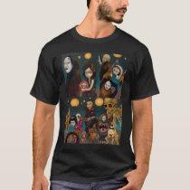 art, fantasy, hyakki, yak, yako, anime, manga, demon, demons, japanese, oni, bakemono, bake, obakemono, hundred, night, parade, procession, shinto, creepy, lantern, daruma, noh, noh mask, skeleton, skull, rokuro-kubi, geisha, fox, kitsune, karakasa, karakasa-obake, umbrella, bakezouri, yokai, ghost, japan, horror, asia, Shirt with custom graphic design