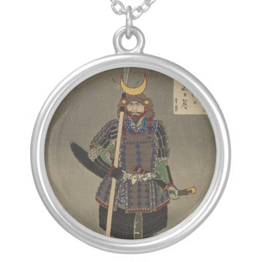 Hyakushi de Tsuki - Akiyama Buemon (1886) Samarai Colgante Redondo