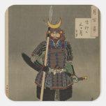 Hyakushi de Tsuki - Akiyama Buemon (1886) Samarai Pegatina Cuadrada