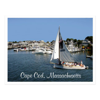 Hyannis Harbor Cape Cod  Mass Boats  Post Card