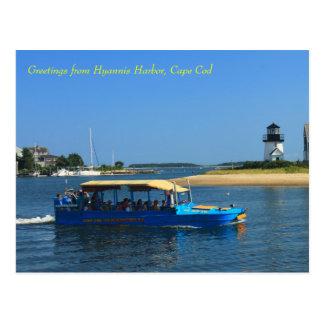Hyannis Harbor Lighthouse Duck Boat Cape Cod Postcard