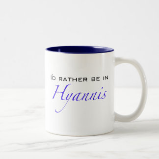 Hyannis MA - Script Two-Tone Coffee Mug
