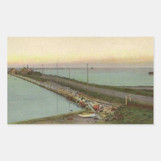 Hyannis Wharf Vintage Postcard Rectangular Sticker