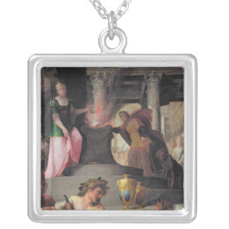 Hyante and Climene offering a sacrifice to Square Pendant Necklace