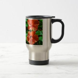 Hybiscus rojo taza de viaje de acero inoxidable