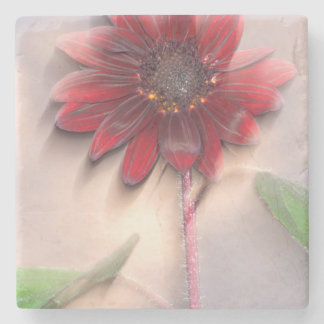 Hybrid sunflower blowing in the wind stone coaster