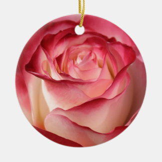 Hybrid Tea Rose Double-Sided Ceramic Round Christmas Ornament