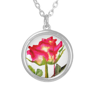 Hybrid Tea Rose watercolor modern flower art Silver Plated Necklace
