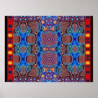 HybridWorld modern tribal abstract art poster