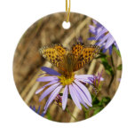 Hydaspe Fritillary on Purple Aster Flowers Ceramic Ornament