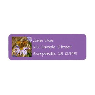 Hydaspe Fritillary on Purple Aster Flowers Label