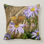 Hydaspe Fritillary on Purple Aster Flowers Throw Pillow