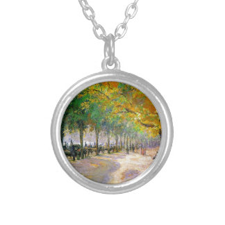 Hyde Park, London by Camille Pissarro Round Pendant Necklace