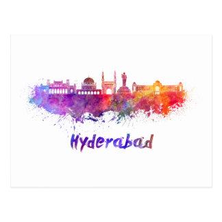 Hyderabad skyline in watercolor postcard