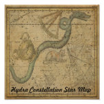 Hydra Constellation Star Map Vintage Astronomy Poster