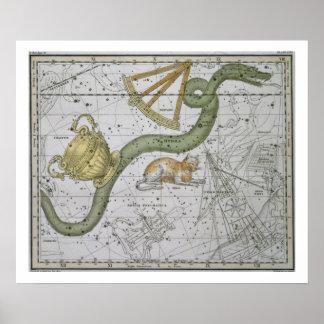"""Hydra, """"de un atlas celestial"""", pub. en 1822 (col poster"""