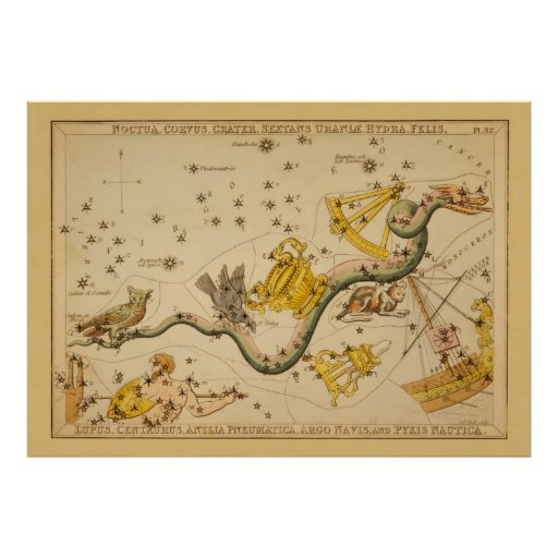 Hydra - Vintage Astronomical Star Chart Image Posters