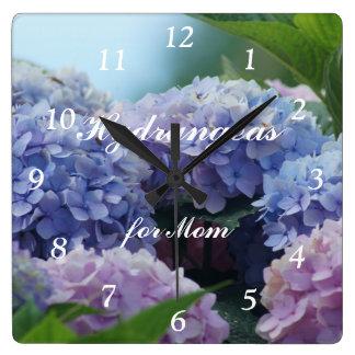 Hydrangea 2385 Clock- customize or personalize Square Wall Clocks