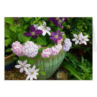 Hydrangea and Clematis Greeting Card