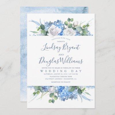 Hydrangea and Greenery Dusty Blue Floral Wedding Invitation