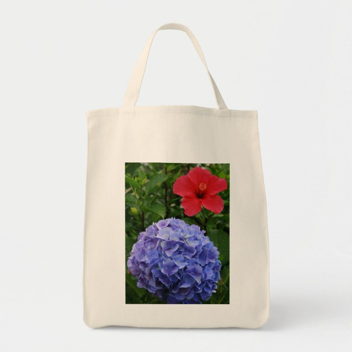 Hydrangea and Hibiscus Tote Bag