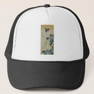 Hydrangea and Kingfisher by Hiroshige Trucker Hat