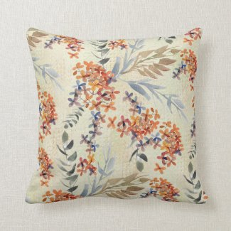Hydrangea and Leaf Watercolor Print Pillow 16x16