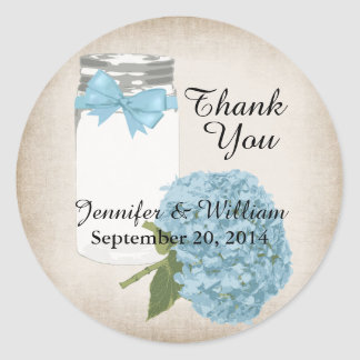 Hydrangea and Mason Jar Wedding Favor Sticker