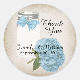 Hydrangea and Mason Jar Wedding Favor Sticker