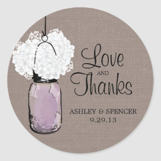 Hydrangea and Rustic Lavender Mason Jar Classic Round Sticker