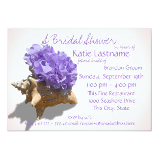 Hydrangea and Seashell Bridal Shower Lavender Card