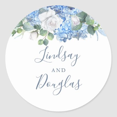 Hydrangea and White Flowers Dusty Blue Watercolor Classic Round Sticker