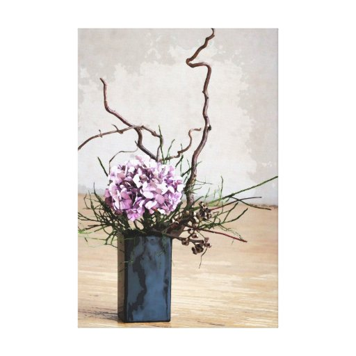 Hydrangea and Wood Vase Watercolor Stretched Canvas Prints
