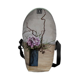 Hydrangea and Wood Vase Watercolor Courier Bag